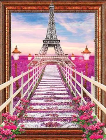 Алмазная Мозаика 40x50 Розовый мост к Эйфелевой башне (арт. 2PAV753)