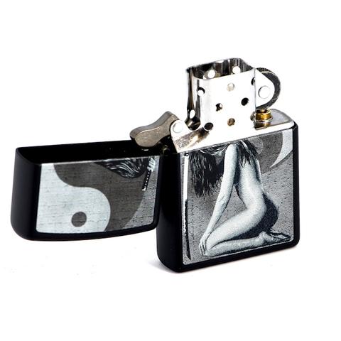 Зажигалка Zippo Woman Sword с покрытием Black Matte, латунь/сталь, чёрная, матовая, 36x12x56 мм123
