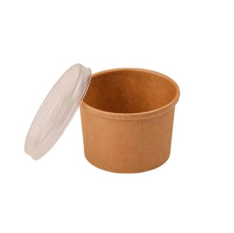 Креманка бумажная с пласт. крышкой d=9см, 240мл, крафт