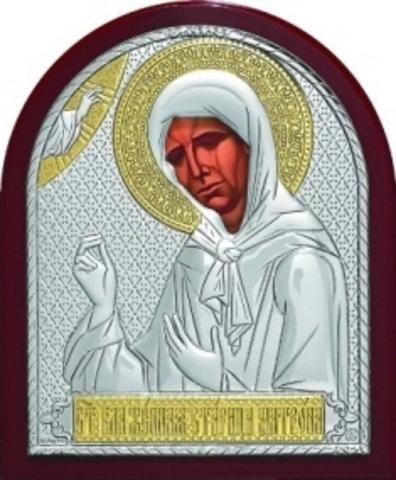 Серебряная с золочением икона Святой Блаженной Матроны Московской 11х9см