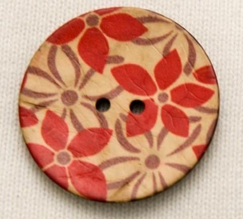 Пуговица с красными цветами, роспись по кокосу, 40 мм