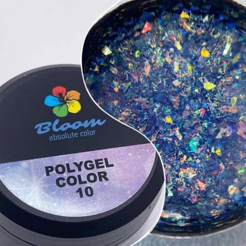 Bloom Полигель№10 12 гр прозрачный с хлопьями