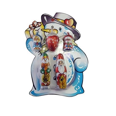 Новогодний  набор 81г в блистере: Дед Мороз 18г, Снеговик 18г, ассорти 15г-2шт, шишка 15г, 1кор*1бл*12шт