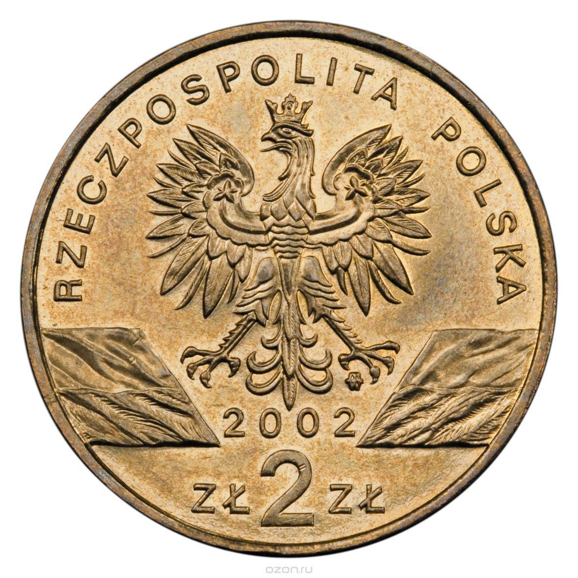 2 злотых Европейская болотная черепаха (животный мир) 2002 год, Польша. UNC