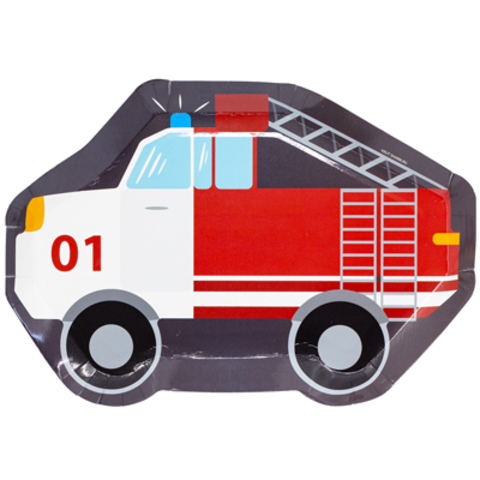 Тарелки фигурные Пожарная Машина, 6 штук