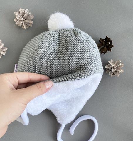 Утепленная шапка для новорожденных  (0-3 мес, серый)