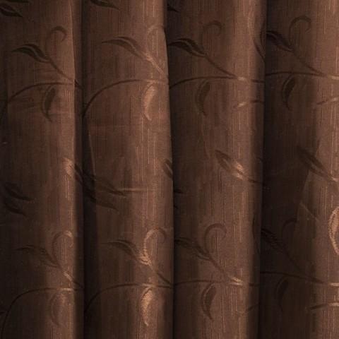 Портьерная ткань 150 см 9 цвет шоколад ветка-лист