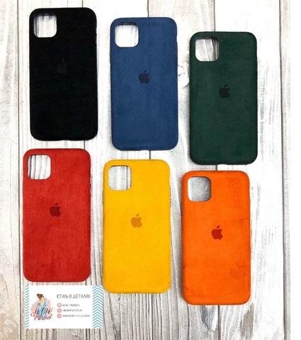 Чехол iPhone X/XS Alcantara case full /yellow/