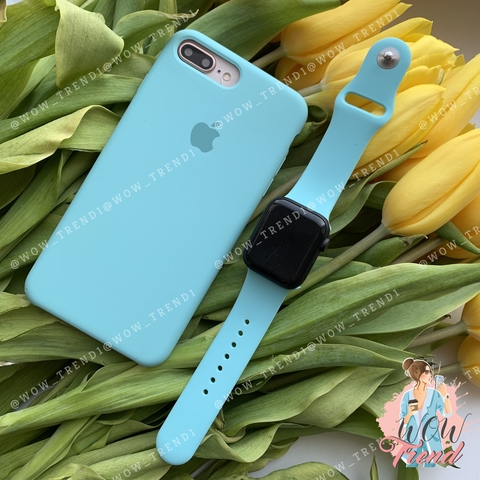 Чехол iPhone 7+/8+ Silicone Case /sea blue/ бирюза original quality