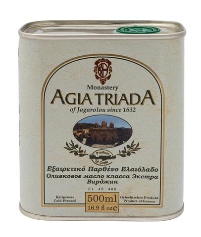 Оливковое масло греческое Agia Triada в жести 500 мл с острова Крит