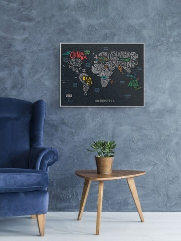 Скретч карта мира Travel Map Letters World 1DEA.ME