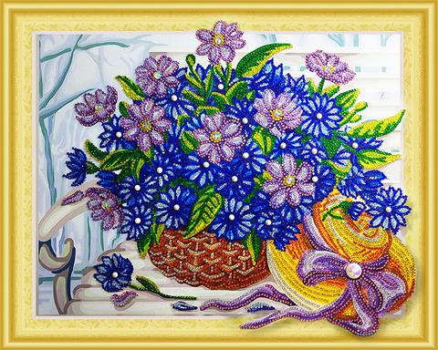Алмазная Мозаика 5D 40x50 Корзина цветов и шляпка