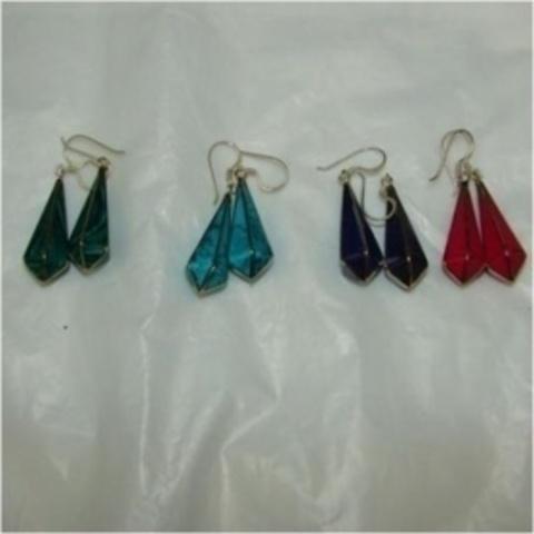 Серьги  5 гранные конусы Цветная эмаль