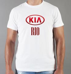Футболка с принтом KIA RIO (КИА Рио) белая 009