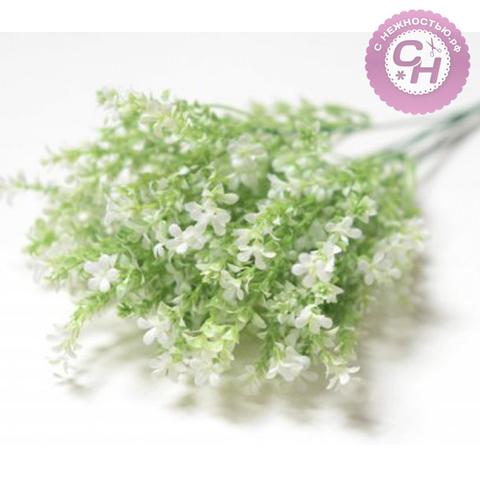 Искусственная зелень Цветочки мелкие полевые, букет 5 веток, 40 см.
