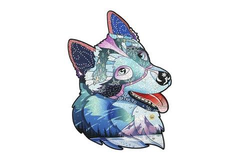 Храбрый Хаски с кристаллами Swarovski от Wood Trick - сборные пазлы причудливой формы, это картины, которые вы собираете сами