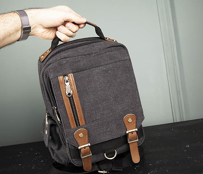 BAG394-1 Черный компактный рюкзак с одной лямкой через плечо фото 14