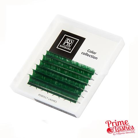 Ресницы Barbara цветные микс 6 линий, Зеленые