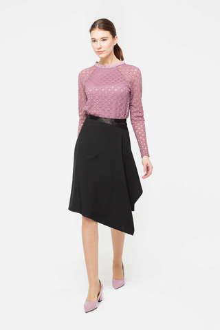 Фото модня юбка а-силуэта с ассиметричным краем и поясом - Юбка Б126-714 (1)