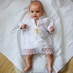 Папитто. Крестильная рубашка для мальчика, белый, золото