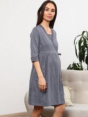 Мамаландия. Комплект для беременных и кормящих с отрезной кокеткой, серый/мелкий горох