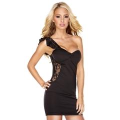 Облегающее клубное платье с прозрачной вставкой -