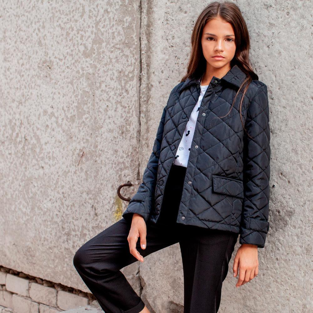 Демісезонне чорна куртка на підлітка дівчинку