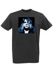 Футболка с принтом Курт Кобейн, Нирвана (Nirvana, Kurt Cobain) черная 002