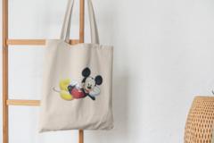 Сумка-шоппер с принтом Микки Маус (Mickey Mouse) бежевая 0012