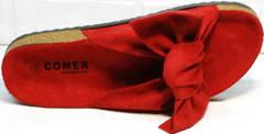 Биркеншток шлепки с большим бантом Comer SAR-15 Red.