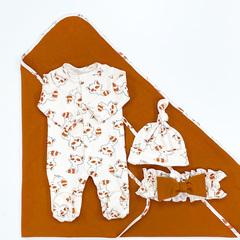 СуперМамкет. Комплект для выписки с комбинезоном, шапочкой и пледом Еноты, коричневый пояс вид 6