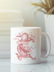 Кружка с изображением Дракон (Dragon) белая 0011
