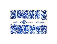 Фольга для дизайна ногтей цвет синий 29