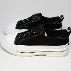 Полу туфли полу кроссовки женские без шнурков El Passo sy9002-2 Sport Black-White.