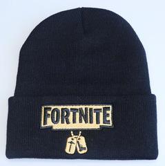 Вязаная шапка с отворотом и вышивкой Fortnite  (Фортнайт), черная