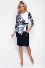 """<p>Утонченный юбочный костюм """"Любовь к Провансу"""" состоящий из модного жакета с ассиметричным кроем, рукав 3/4 и прямой юбки из трикотажа на резинке. За счет уникального кроя и приятного материала, наряд смотрится особенно эффектно.</p>"""