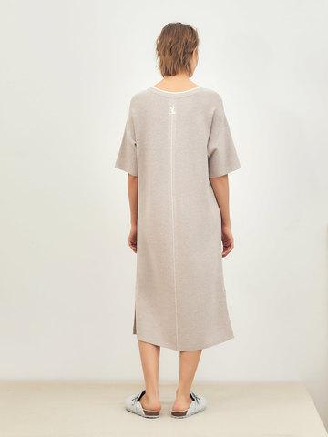 Женское платье светло-кофейного цвета из вискозы - фото 3