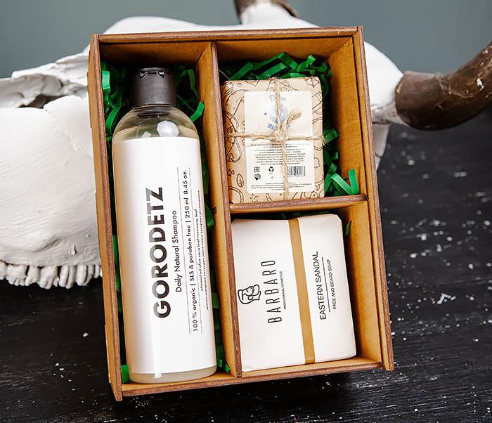 BOX245-2 Подарочная коробка из дерева с тремя отделениями внутри, А6 (19*15*8,5 см) фото 05