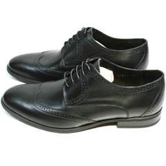 Туфли на выпускной черные мужские кожаные Ikos 1157-1 Classic Black.