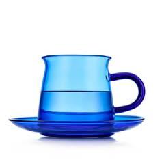 Чайная пара из цветного стекла, синяя - чашка 200 мл с блюдцем в скандинавском стиле Teastar
