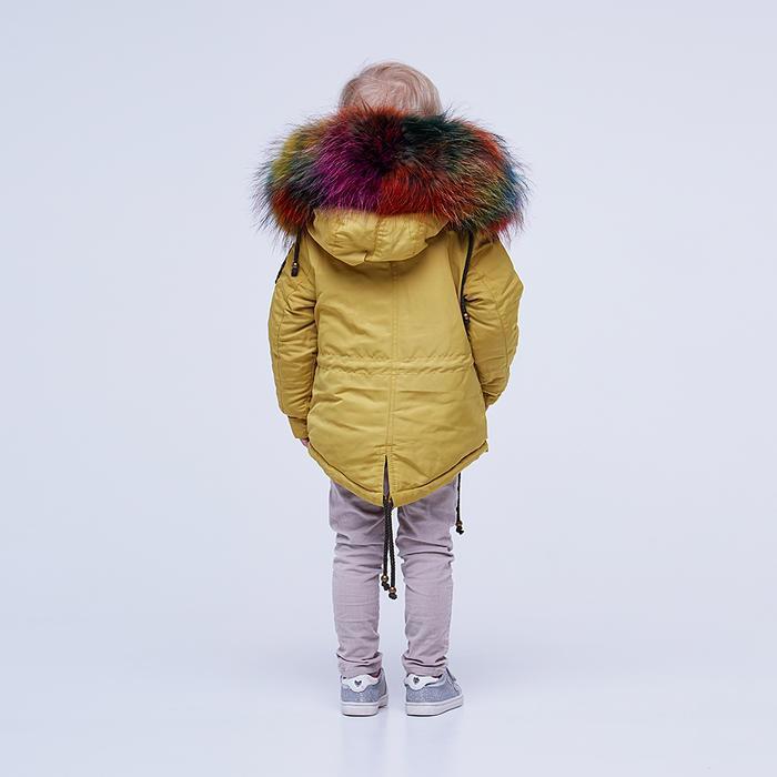 Дитяча демісезоннажовта парку з водовідштовхувальної плащової тканини