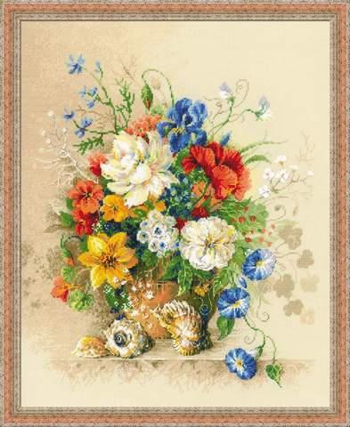 производитель РИОЛИС¶артикул 100/042¶размер 40х50¶техника счетный крест¶тематика цветы¶состав канва