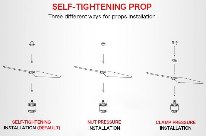 Три вида крепления пропеллеров к мотору