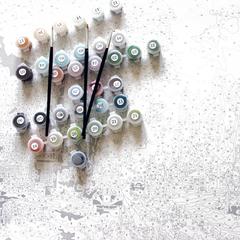 Картина раскраска по номерам 40x50 Букет на маленьком столике