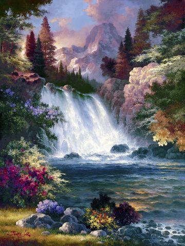 Алмазная Мозаика 50x65 Водопад в горах