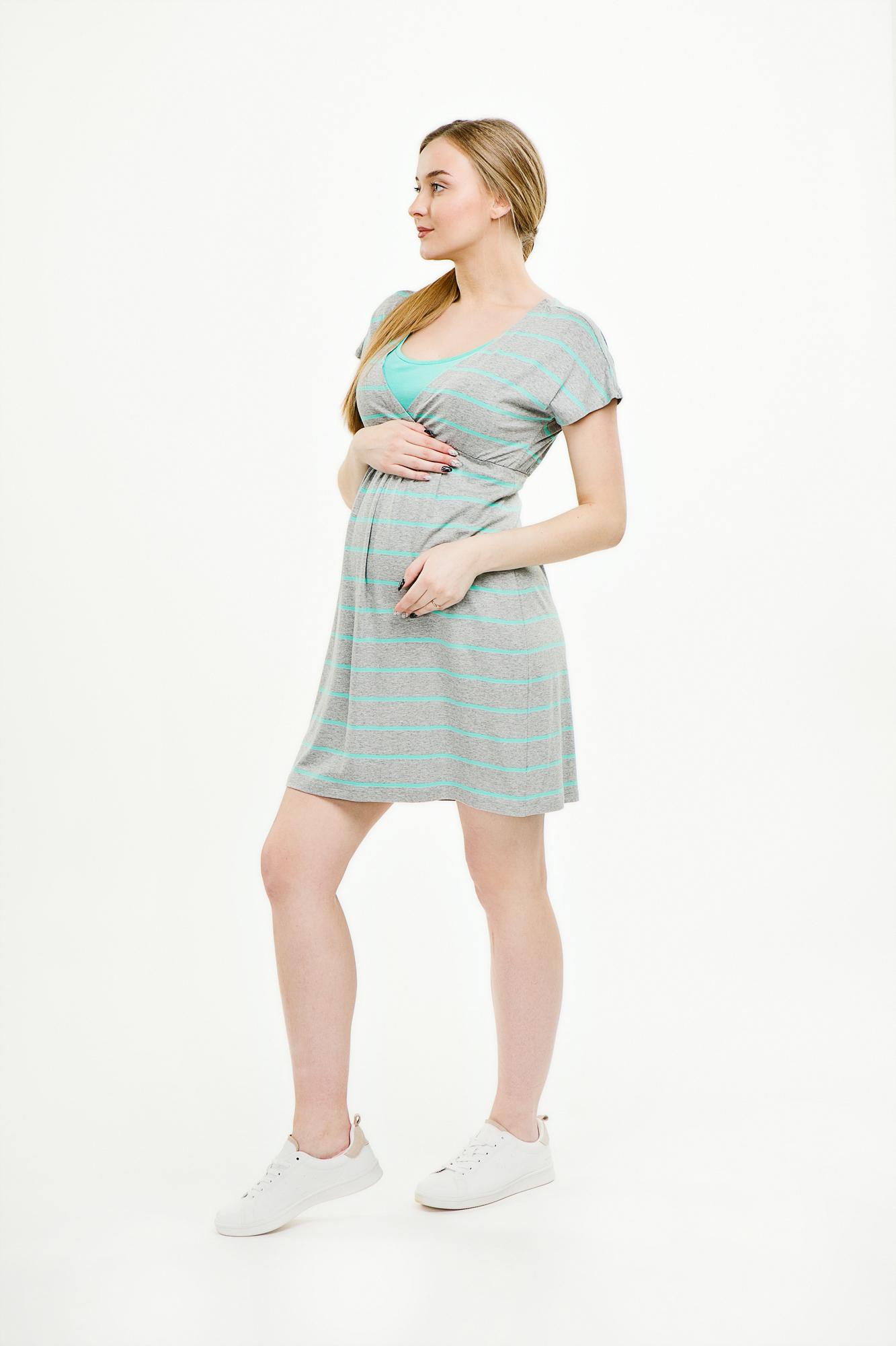 Фото платье для беременных MAMA`S FANTASY от магазина СкороМама, серый, полоска, размеры.