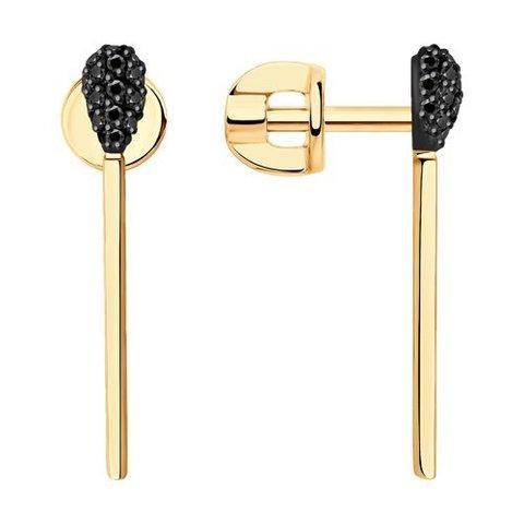 7020087 - Серьги из золота с черными облагороженными бриллиантами