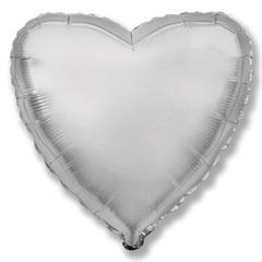 Шар сердце серебряный