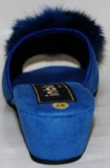Тапочки комнатные женские Inblu с пушком голубые