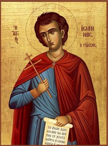 Икона святой преподобный Иоанн Русский на дереве на левкасе